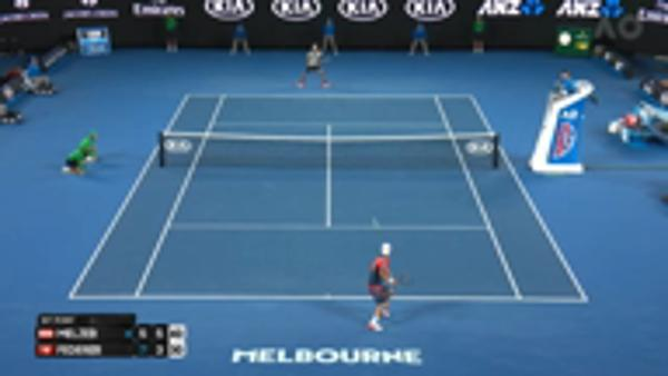 Federer sublime passing shot