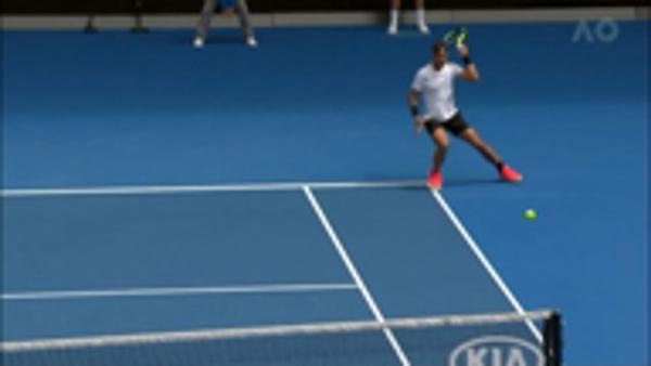 Nadal powers forehand winner